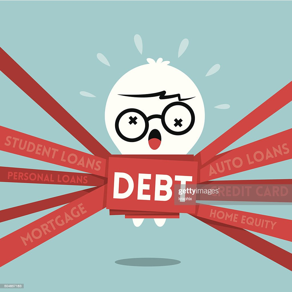 Debt concept illustration a man wrapped up in red tape