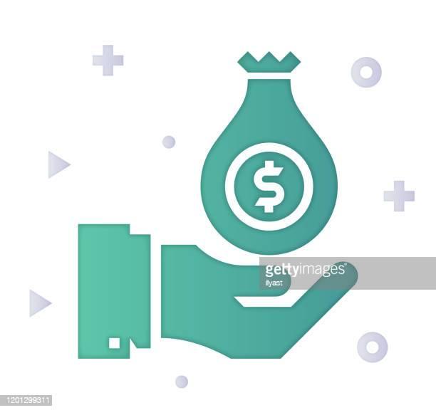 ilustraciones, imágenes clip art, dibujos animados e iconos de stock de color de relleno de degradado de deuda y desapalancamiento y diseño de icono de estilo de corte de papel - impuestosobrelarenta