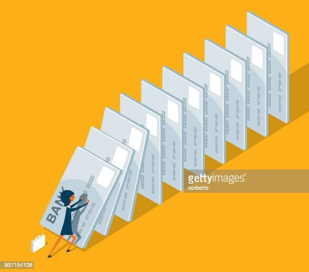 debt - start domino effect - businesswoman - subprime loan crisis stock illustrations