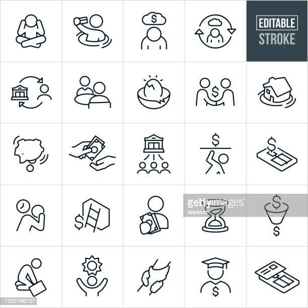 debt thin line icons - ediatable stroke - debt stock illustrations
