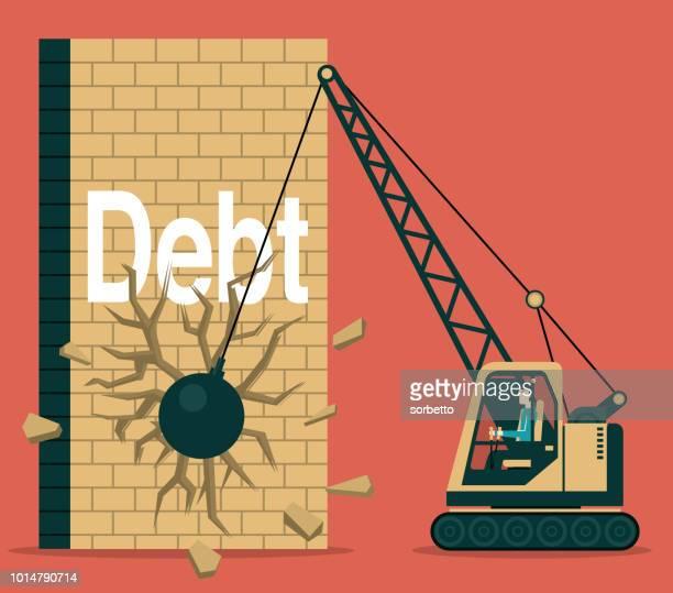debt - demolished stock illustrations