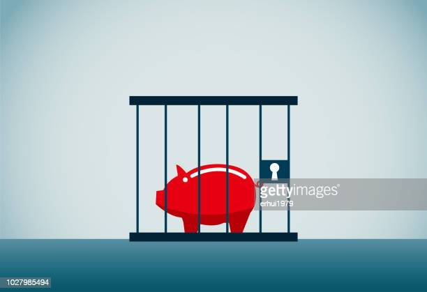 debt - cage stock illustrations, clip art, cartoons, & icons