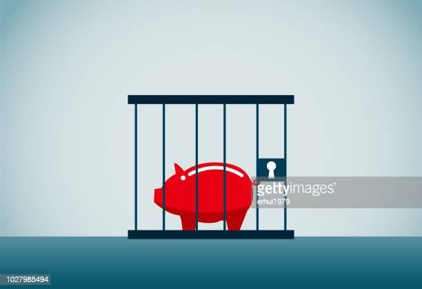 debt - birdcage stock illustrations, clip art, cartoons, & icons
