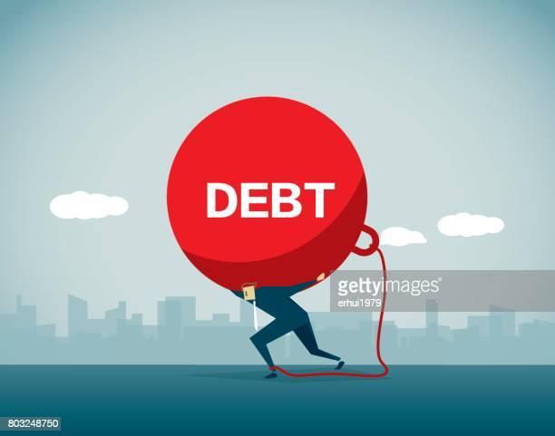 debt - physical pressure stock illustrations