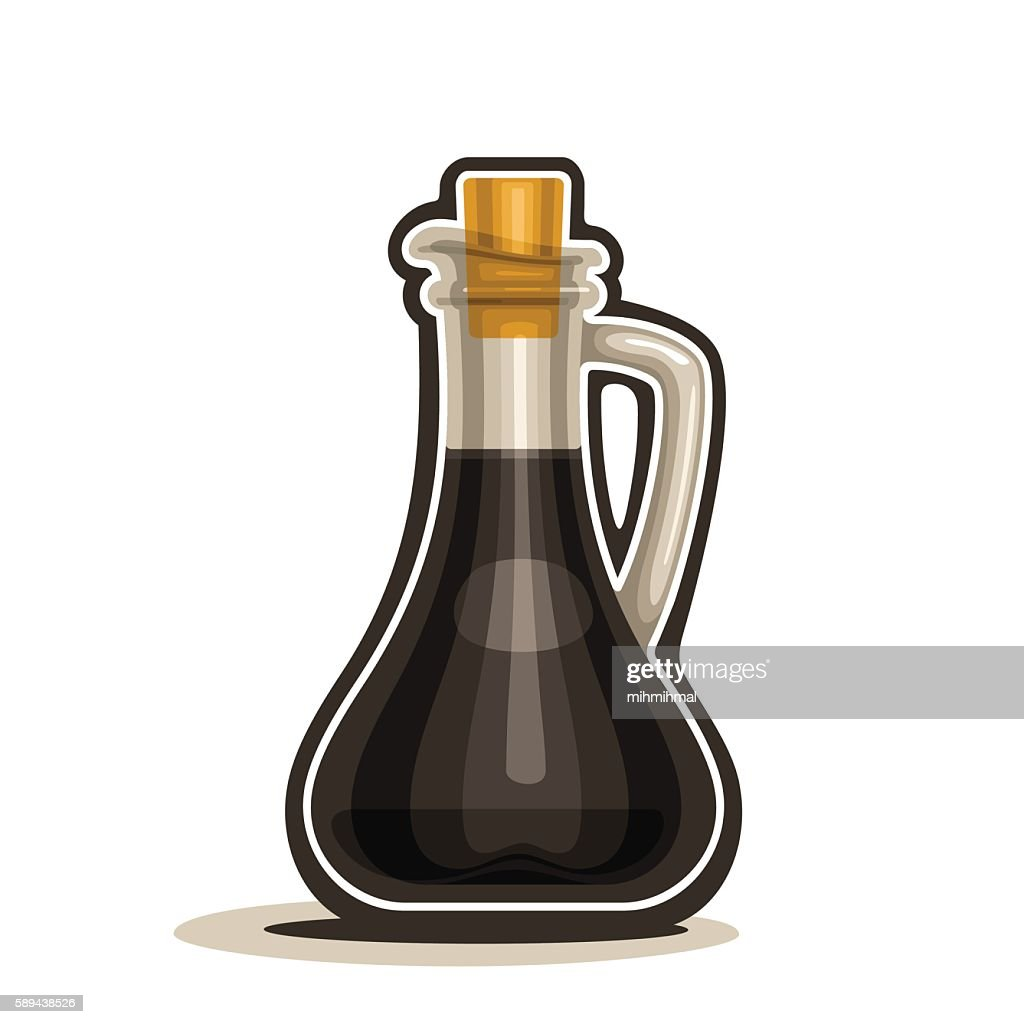 Decanter with handle filled soy sauce