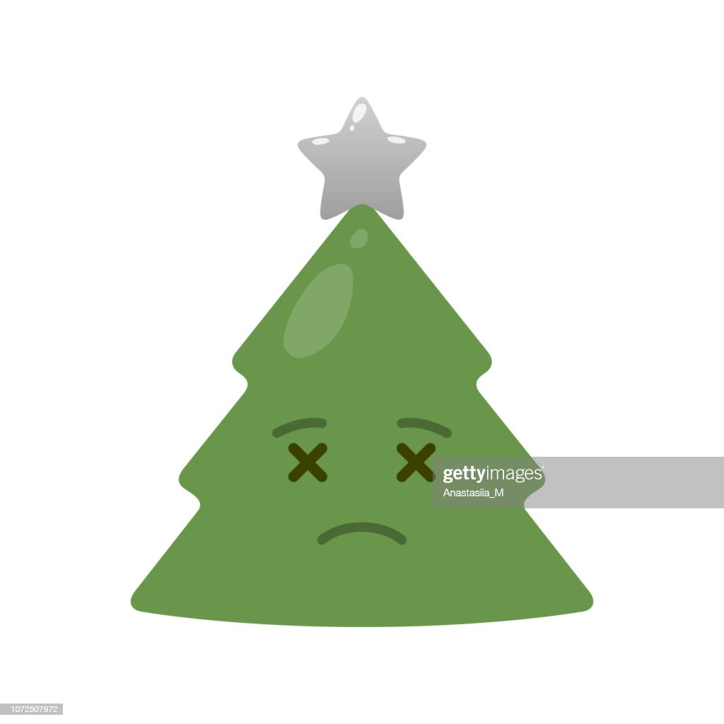 Deceased christmas tree isolated emoticon