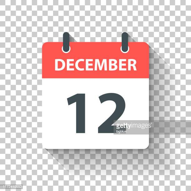 december 12 - daily calendar icon in flat design style - december stock illustrations