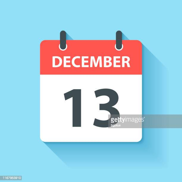 december 13 - daily calendar icon in flat design style - december stock illustrations