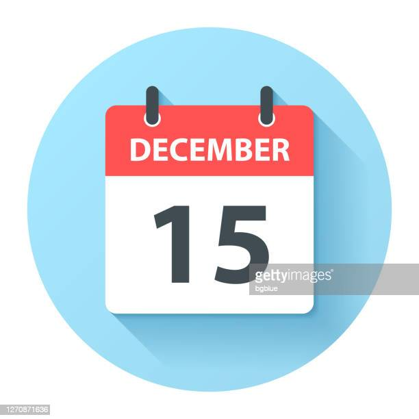 december 15 - round daily calendar icon in flat design style - december stock illustrations