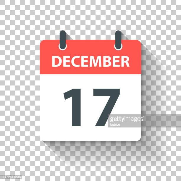 december 17 - daily calendar icon in flat design style - december stock illustrations