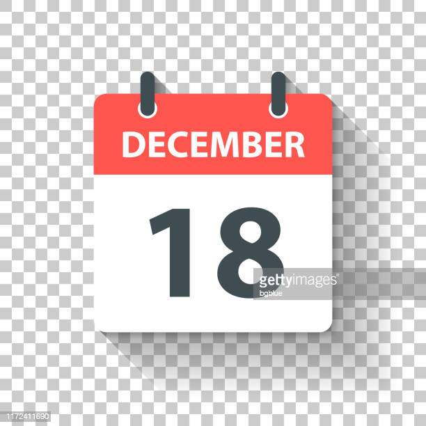 december 18 - daily calendar icon in flat design style - december stock illustrations