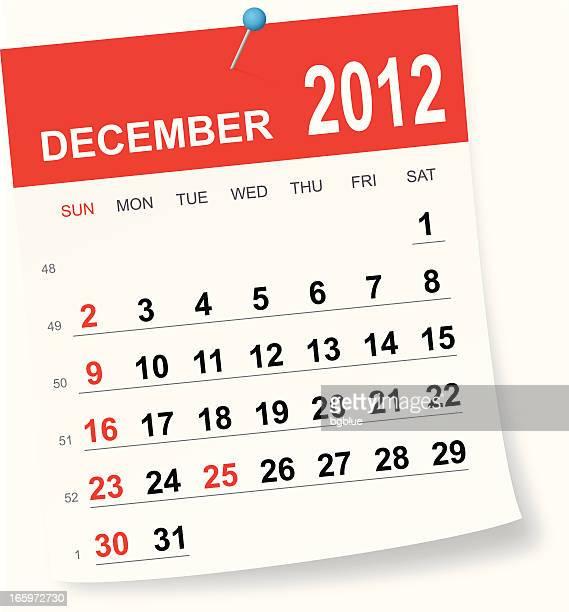 december 2012 calendar - 2012 stock illustrations
