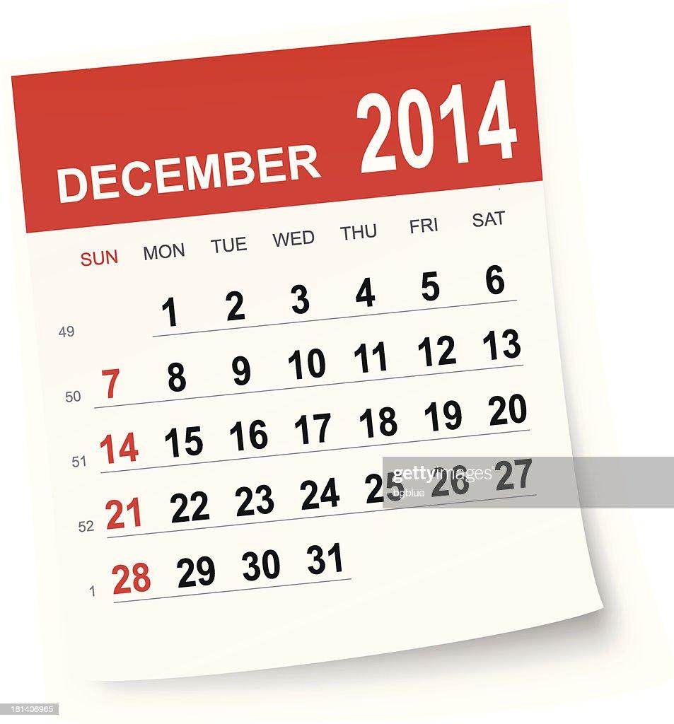 December 2014 calendar : stock illustration