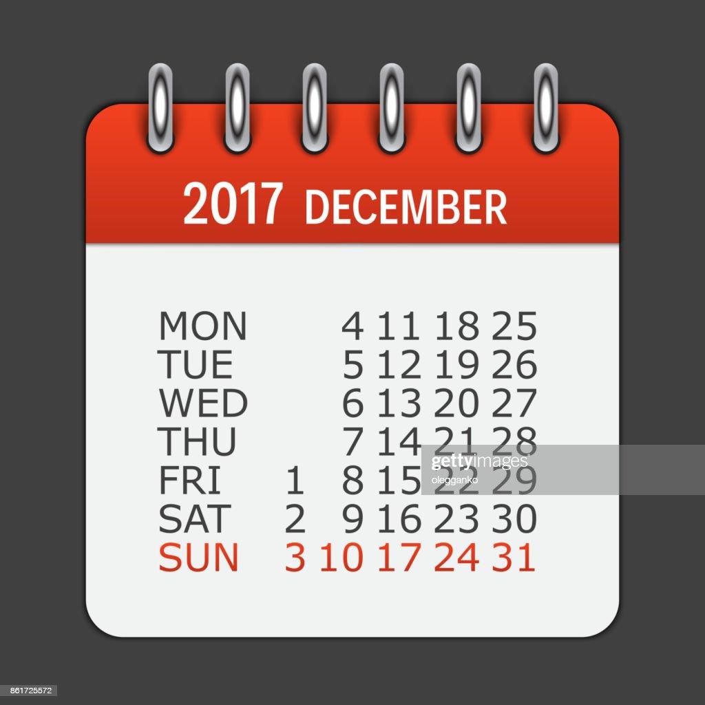 December 2017 Calendar Daily Icon. Vector Illustration Emblem. E