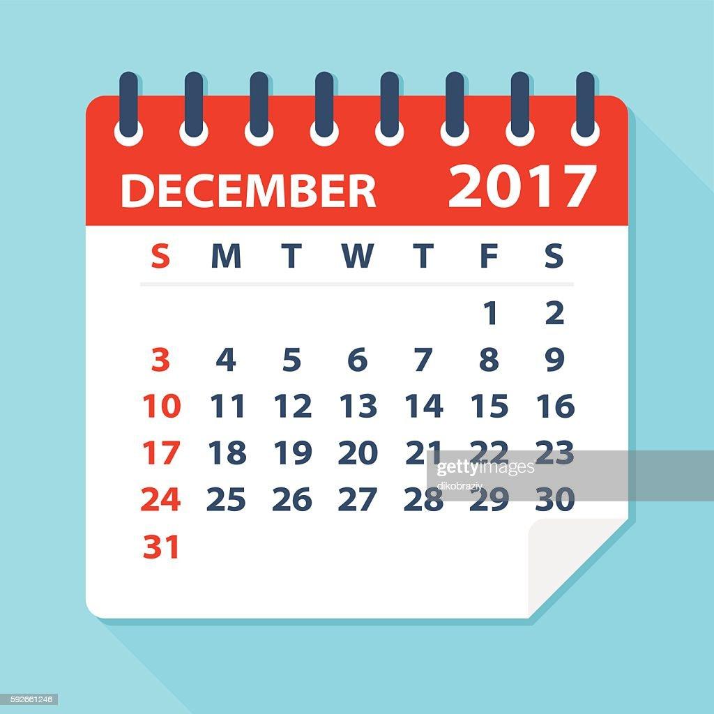 December 2017 calendar - Illustration