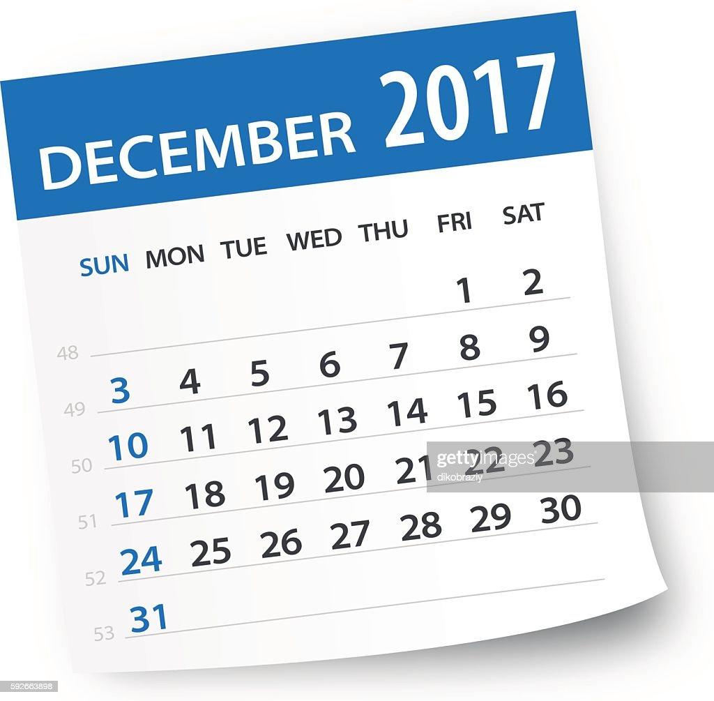 December 2017 calendar leaf - Illustration