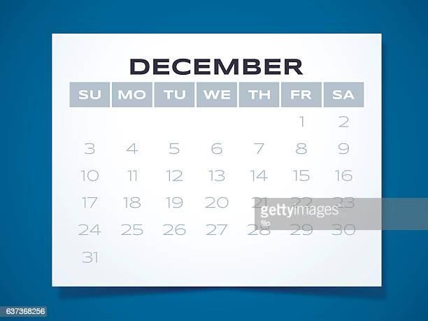 december 2017 calendar - monthly event stock illustrations