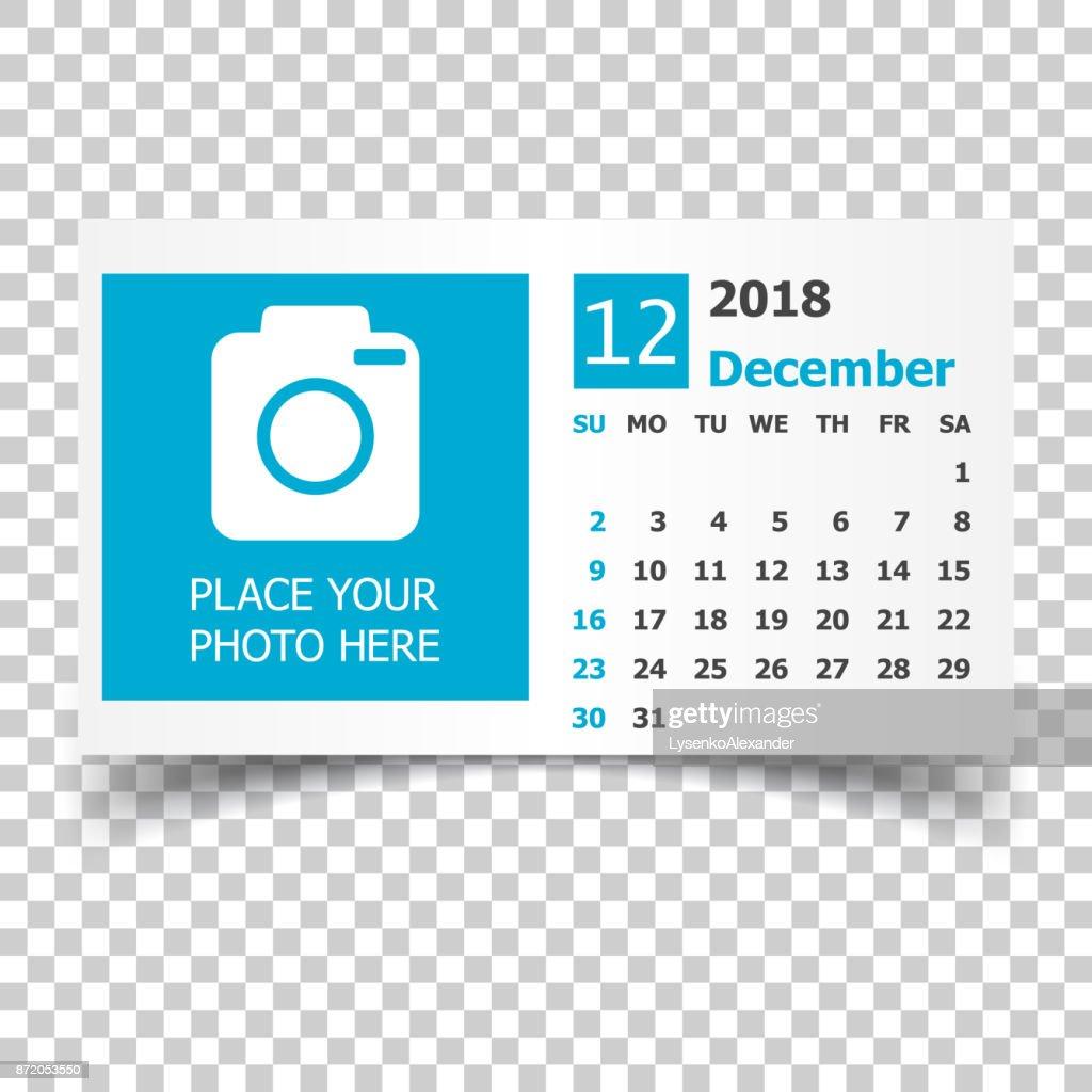 December 2018 calendar. Calendar planner design template with place for photo. Week starts on sunday. Business vector illustration.
