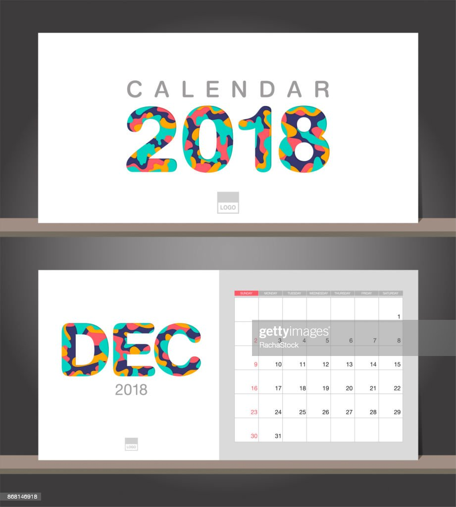 December 2018 Calendar Desk Calendar Modern Design Template With
