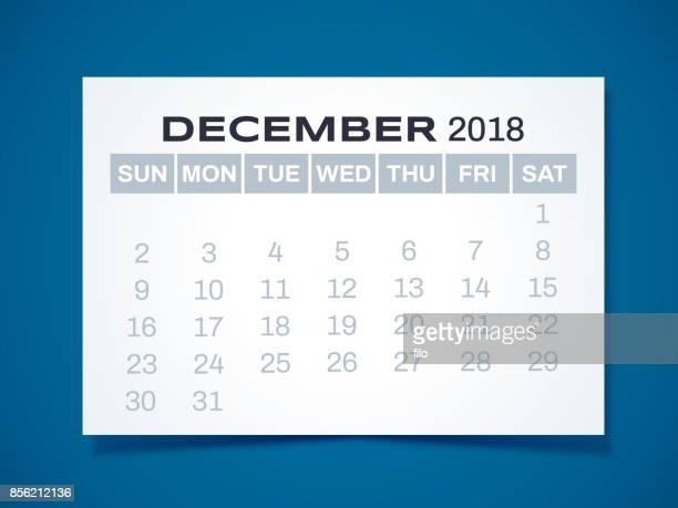 december 2018 calendar - 2018 stock illustrations