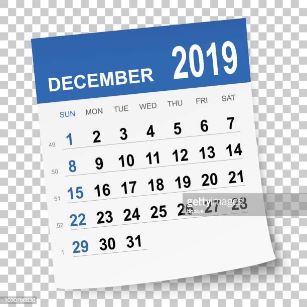 december 2019 calendar - 2019 stock illustrations