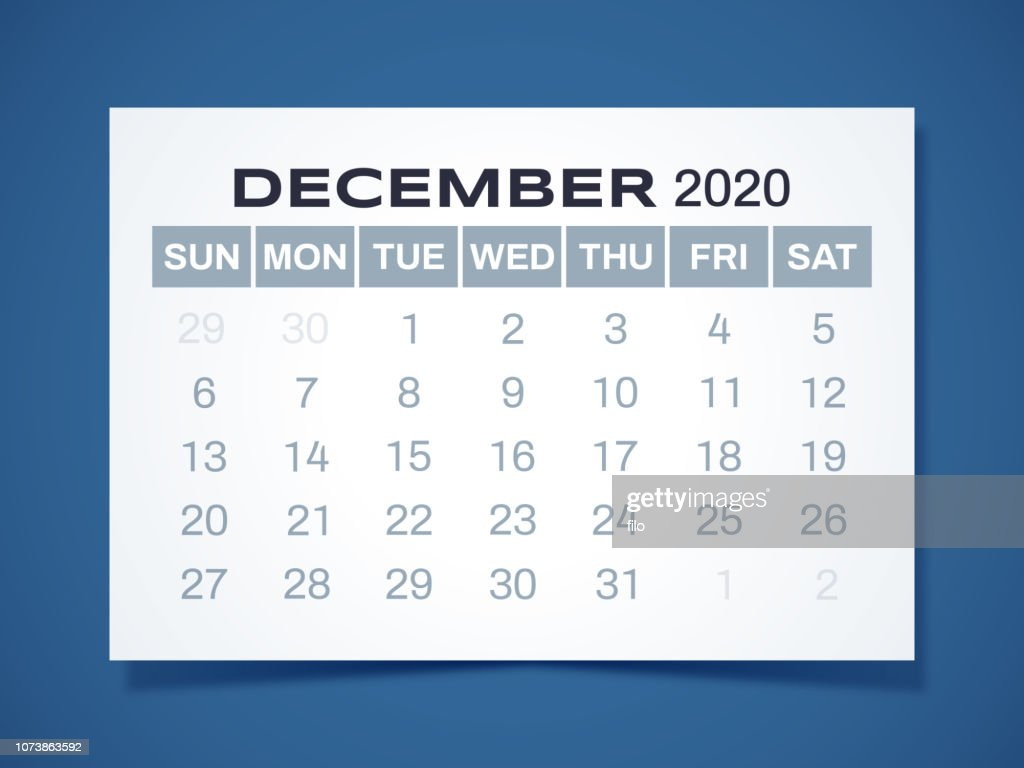 Calendar December 2020.December 2020 Calendar Stock Illustration Getty Images