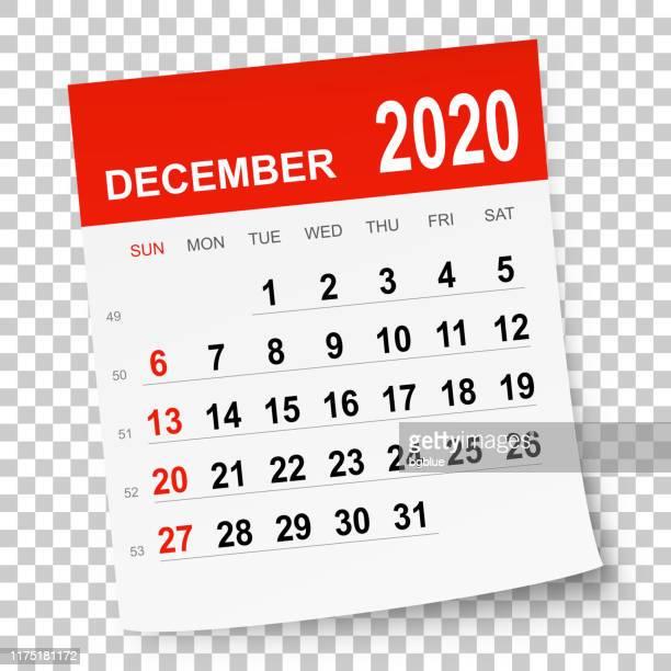 december 2020 calendar - december stock illustrations