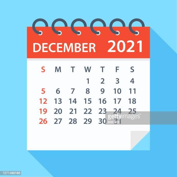 december 2021 - calendar. week starts on sunday - monthly event stock illustrations