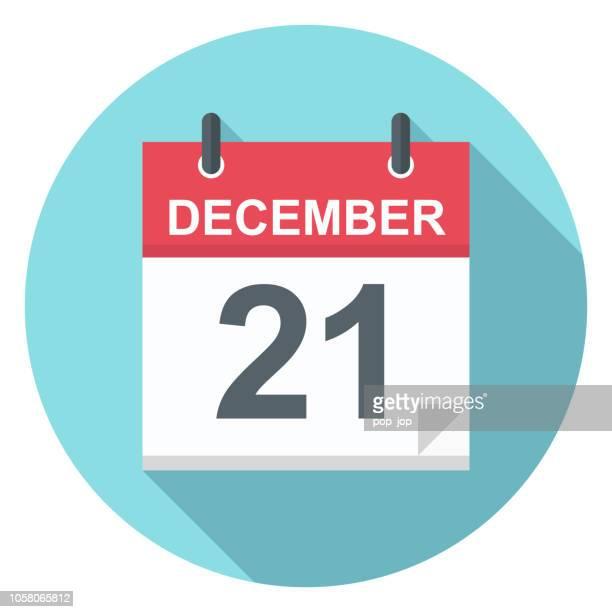 december 21 - calendar icon - organização stock illustrations
