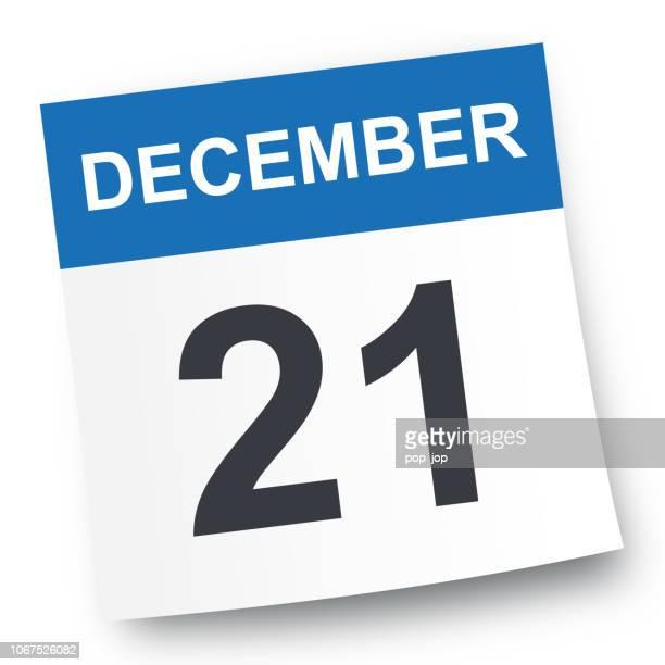december 21 - calendar icon - 2019 2020 calendar stock illustrations