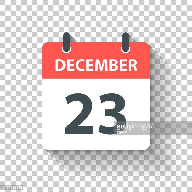 december 23 - daily calendar icon in flat design style - day stock illustrations