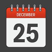 December 25 Calendar Daily Icon. Vector Illustration Emblem. Ele