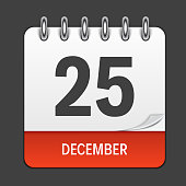 December 25 Calendar Daily Icon. Vector Illustration Emblem. Element of Design for Decoration Office Documents and Applications. Logo of Day, Date, Month and Holiday. Christmas Time