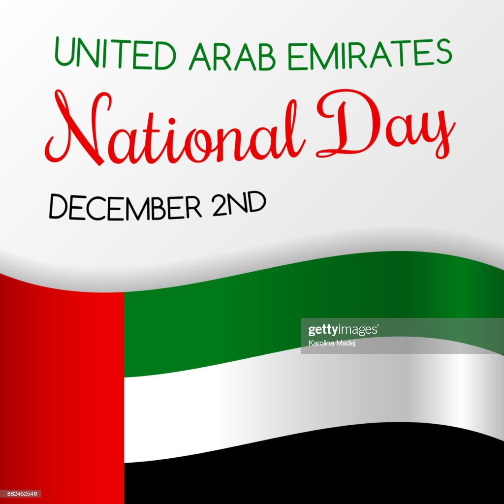 December 2nd National Day Of Uae Card With Greeting Vector Vector