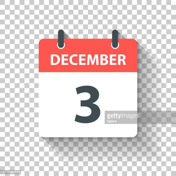 december 3 - daily calendar icon in flat design style - december stock illustrations