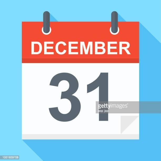 31. dezember - kalender-symbol - dezember stock-grafiken, -clipart, -cartoons und -symbole