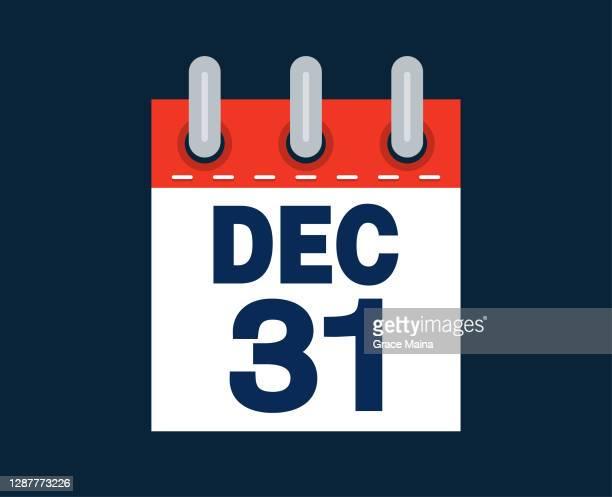 december 31st calendar date of the month - deadline stock illustrations