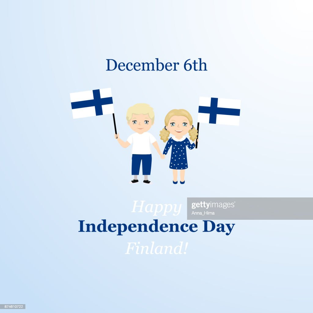 December 6th, Finland, Independence Day greeting card. Kids symbol