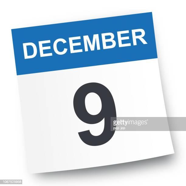 december 9 - calendar icon - number 9 stock illustrations