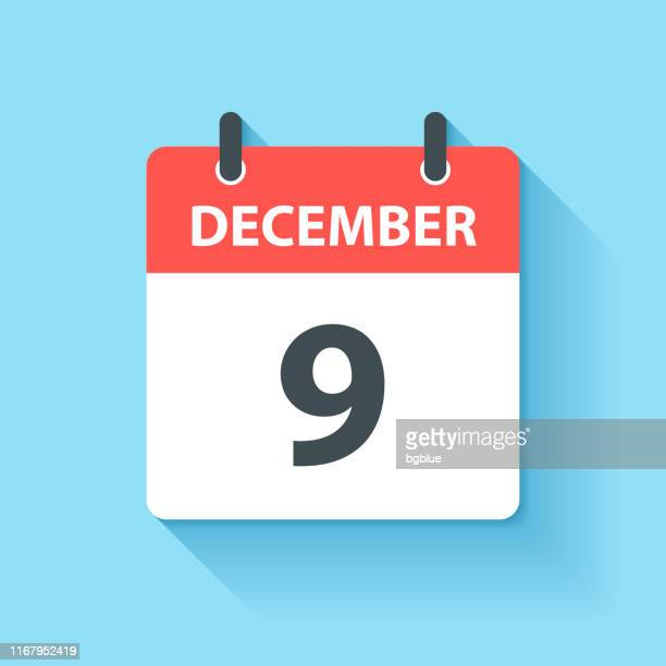 december 9 - daily calendar icon in flat design style - number 9 stock illustrations