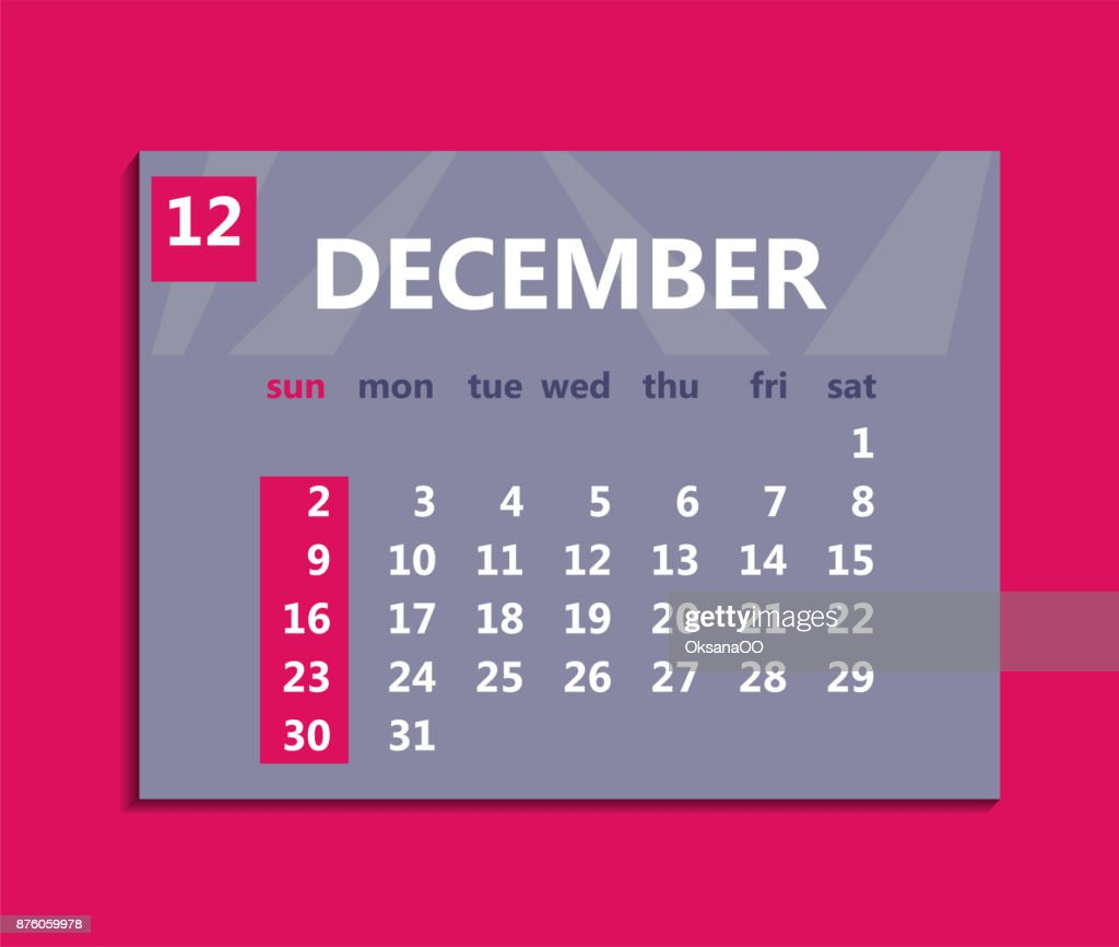 December Calendar Art : December calendar week starts on sunday business vector