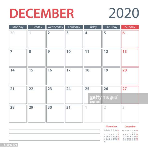 2020 december calendar planner vector template. week starts monday - december stock illustrations