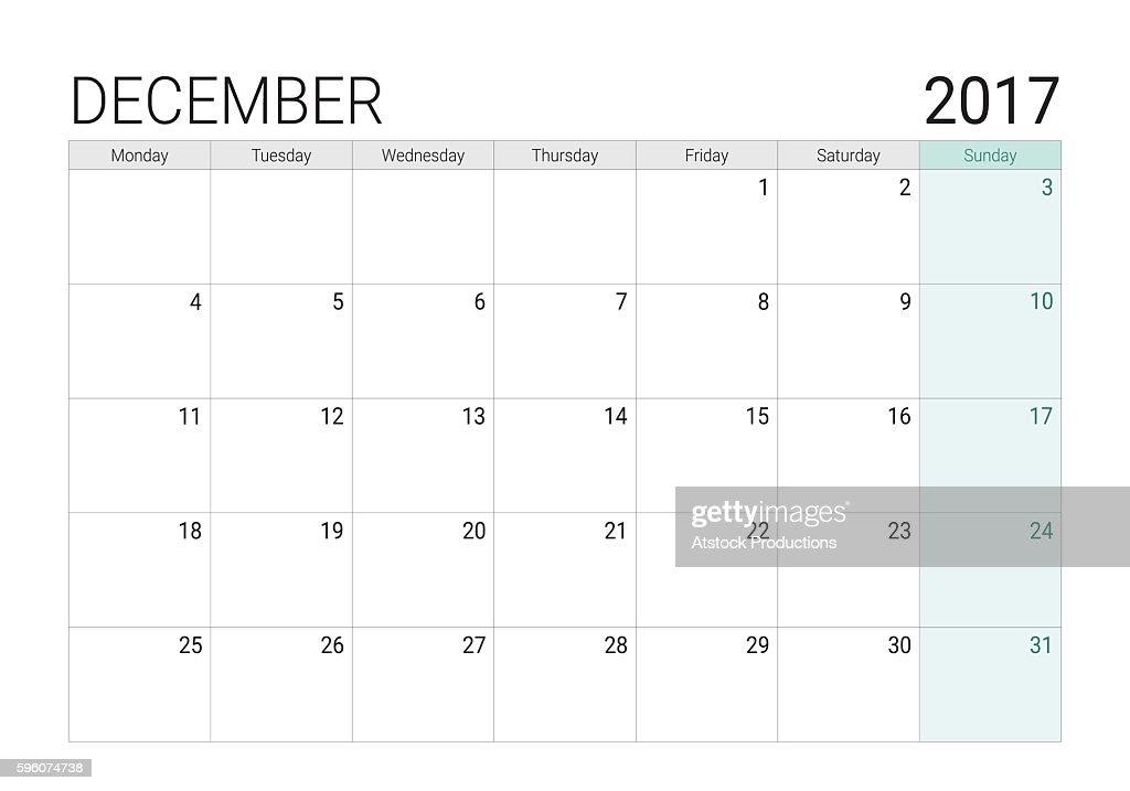 2017 December calendar (or desk planner)