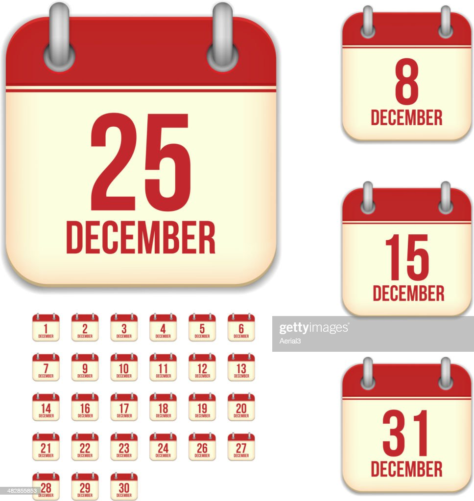 December days. Vector calendar icons
