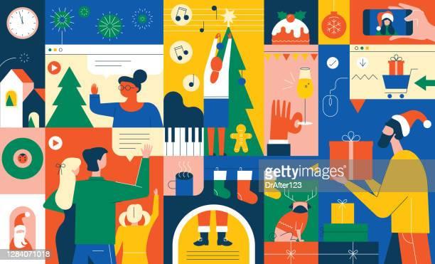 ilustrações, clipart, desenhos animados e ícones de dezembro holidays conceito vibrante - temas fotográficos