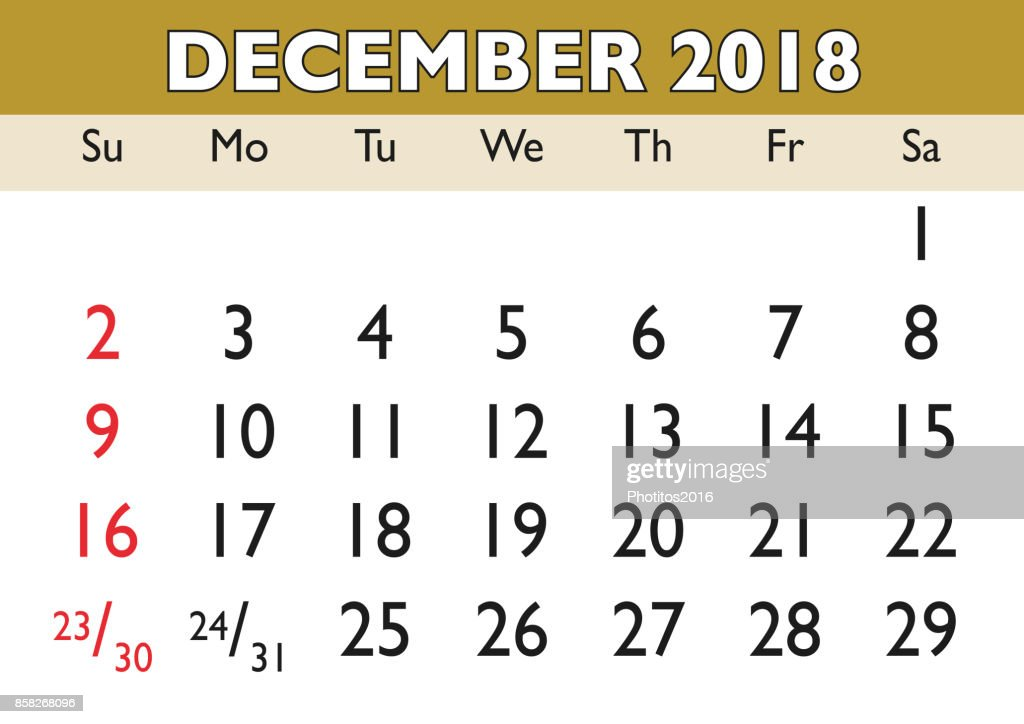 December Month Calendar 2018 English Usa Vector Art Getty Images
