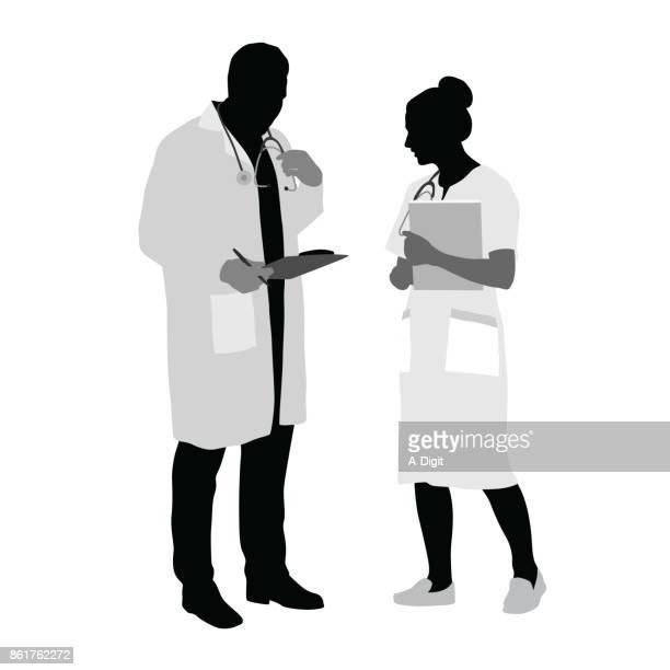 ilustraciones, imágenes clip art, dibujos animados e iconos de stock de decidir el diagnóstico médico - asistente de enfermera