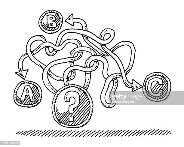entscheidung fragezeichen auswahl konzept-abbildung - chaos stock-grafiken, -clipart, -cartoons und -symbole