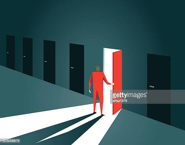 decisions,choice, inspiration, door, doorway, gate, open, opportunity - leaving stock illustrations