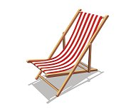 Deckchair with red stripes and shadows